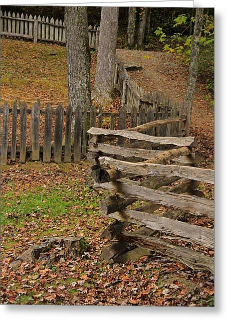 Tennesee Greeting Cards - Fence In Autumn Greeting Card by Dan Sproul