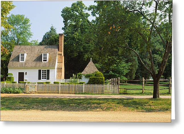 Williamsburg Greeting Cards - Fence In Front Of A House, Colonial Greeting Card by Panoramic Images
