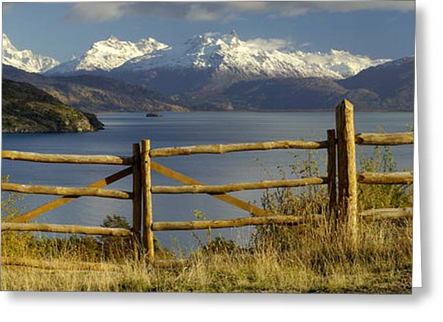 Mountain Greeting Cards - Fence In Front Of A Lake With Mountains Greeting Card by Panoramic Images