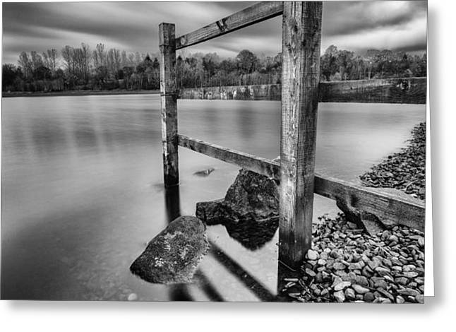 Fence in the loch  Greeting Card by John Farnan