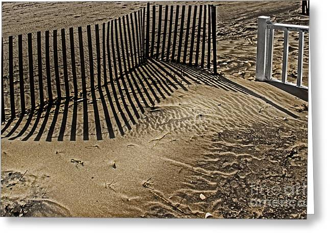 Sand Pattern Greeting Cards - Fence Line Greeting Card by Tom Gari Gallery-Three-Photography