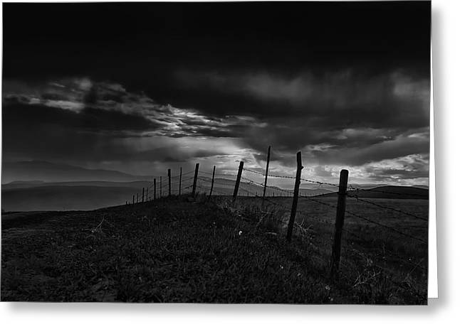 Field. Cloud Greeting Cards - Fence Line  Greeting Card by Theresa Tahara