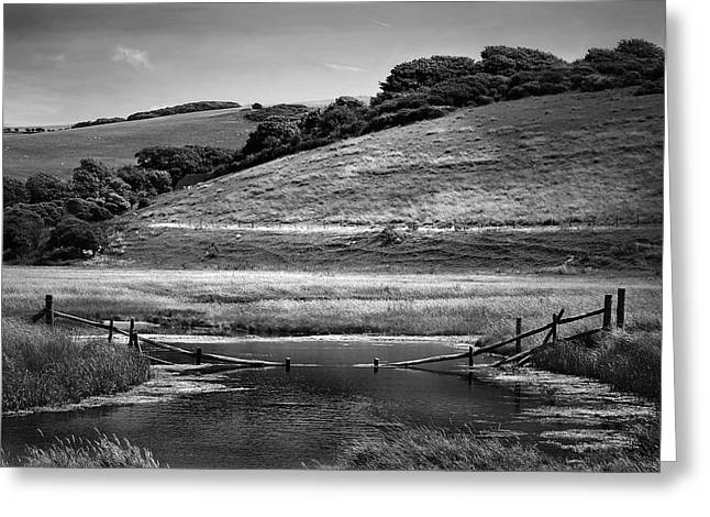 Black And White Nature Landscapes Greeting Cards - Fence Greeting Card by Mark Rogan