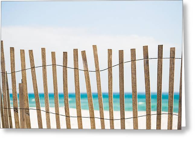 Florida House Greeting Cards - Fence on the Beach Greeting Card by Shelby  Young