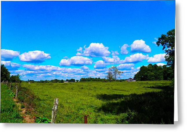 Fence Row And Clouds Greeting Card by Nick Kirby