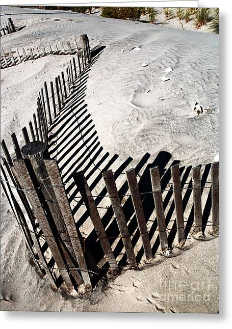 Sand Patterns Greeting Cards - Fence Shadows Greeting Card by John Rizzuto