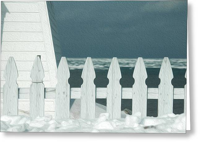 York Beach Greeting Cards - Fence  Greeting Card by Tracy Winter