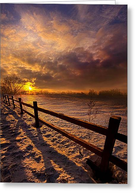 Sun Ray Greeting Cards - Fence Walking Greeting Card by Phil Koch
