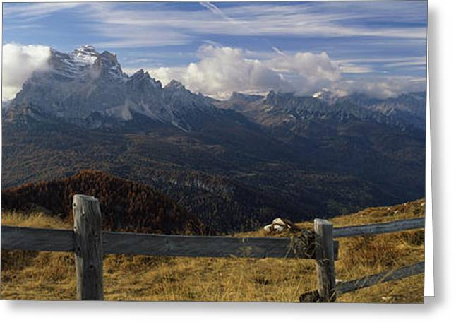 European Alps Greeting Cards - Fence With A Mountain Range Greeting Card by Panoramic Images