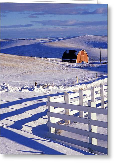 Usa Photographs Greeting Cards - Fenced Barn Greeting Card by Latah Trail Foundation