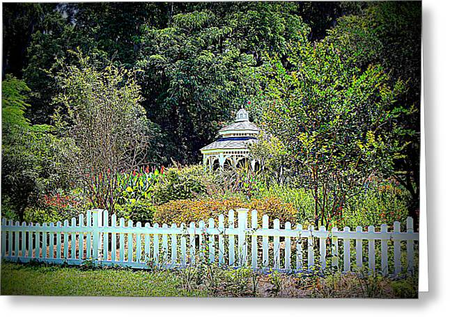 Gazebo Wall Art Greeting Cards - Fenced Butterfly Garden Greeting Card by Sheri McLeroy