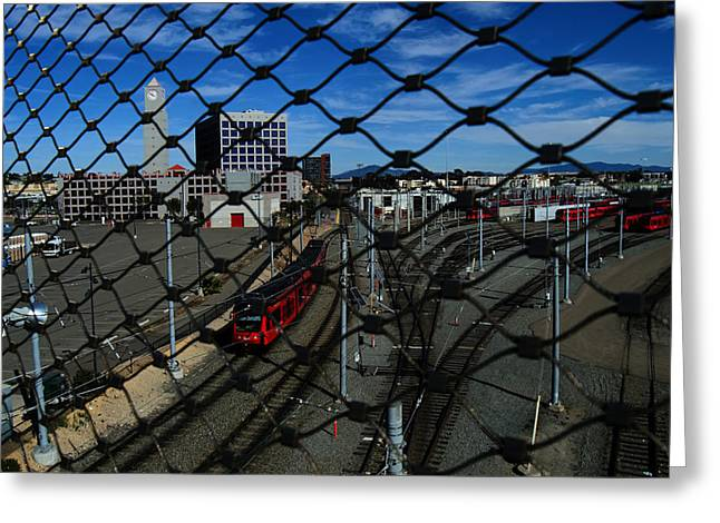 Railyard Greeting Cards - Fenced In Greeting Card by See My  Photos
