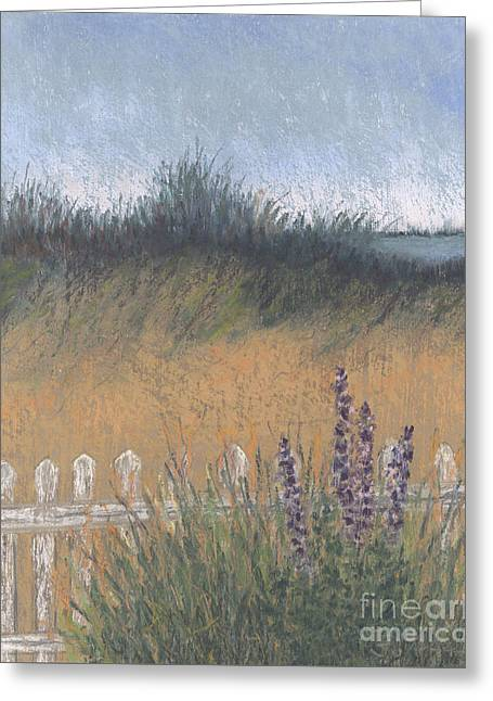 Ocean Shore Pastels Greeting Cards - Fenced-In Dune Greeting Card by Ginny Neece