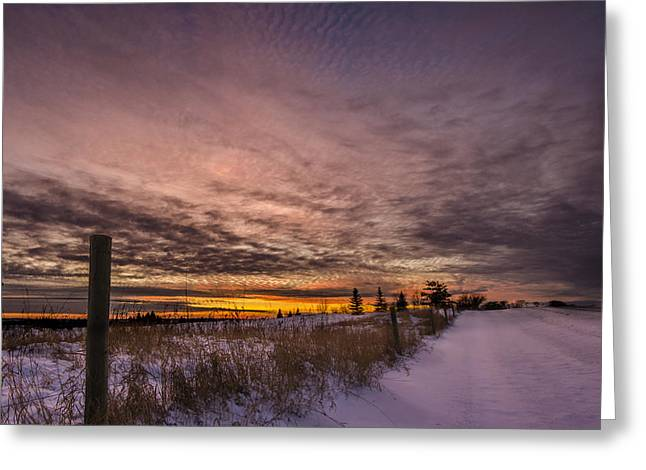 Field. Cloud Greeting Cards - Fenced In Sunset Greeting Card by Paul Geilfuss