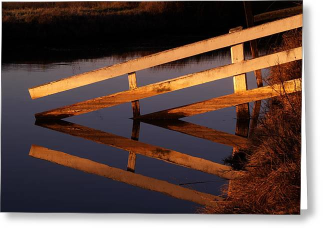 Abstract Geometric Greeting Cards - Fenced Reflection Greeting Card by Bill Gallagher
