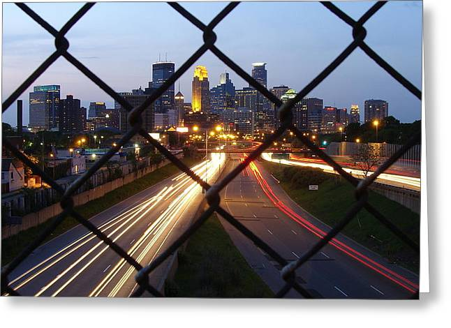 Cityscape Pyrography Greeting Cards - Fenced Sunset Greeting Card by Joseph Hennen