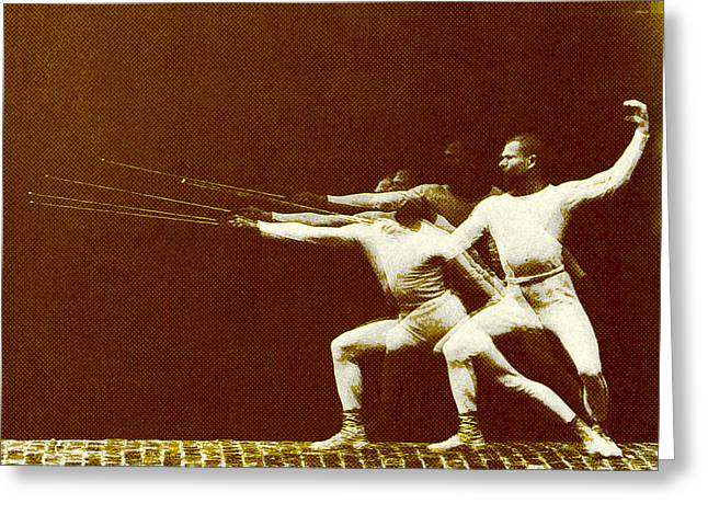 Engraving Digital Greeting Cards - Fencer In Motion Greeting Card by Gary Grayson