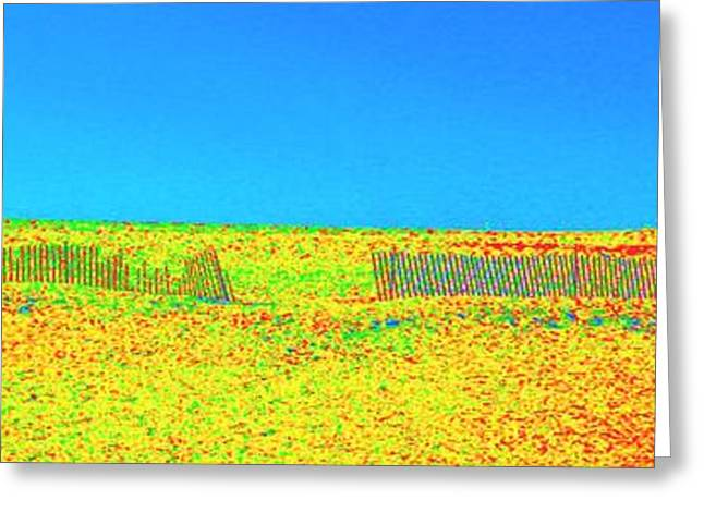 Beach Landscape Pastels Greeting Cards - Fences Greeting Card by Dan Hilsenrath