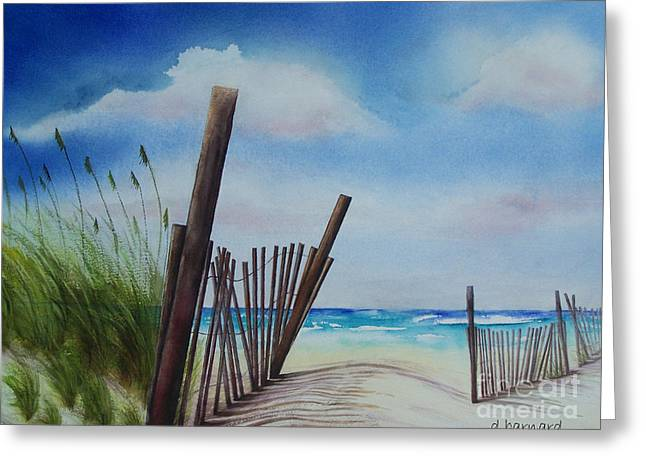 Sand Fences Paintings Greeting Cards - Fences Greeting Card by Dianne Barnard