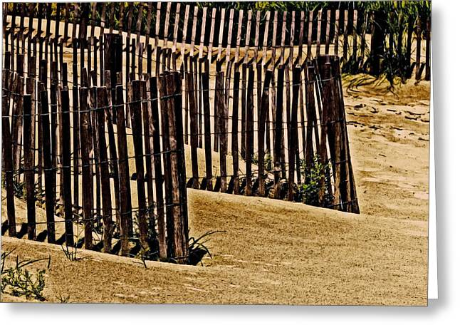 Sand Patterns Greeting Cards - Fences Greeting Card by Tom Gari Gallery-Three-Photography