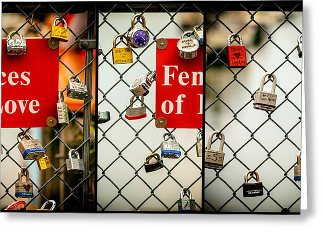 Trio Greeting Cards - Fences Of Love Greeting Card by Karol  Livote