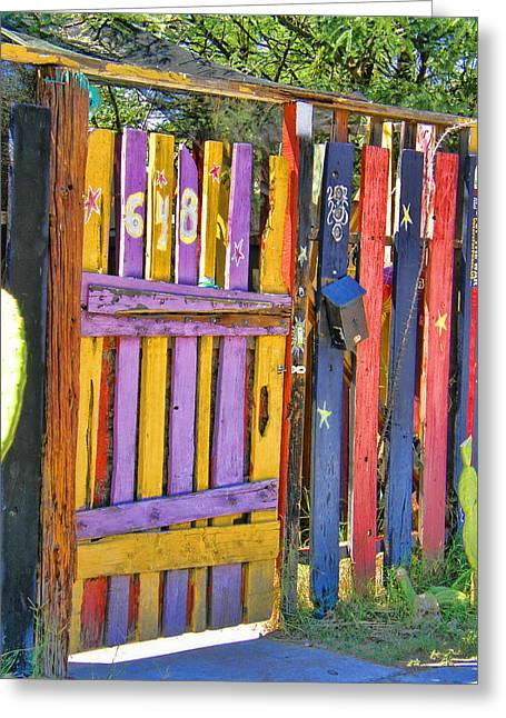 Crooked Fence Greeting Cards - Fences of Tucson Greeting Card by Joanne Beebe