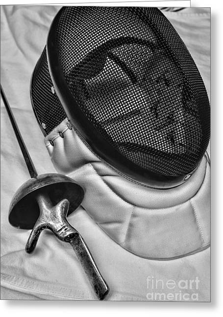 On Guard Greeting Cards - Fencing - Fencing Mask and Sword Greeting Card by Paul Ward