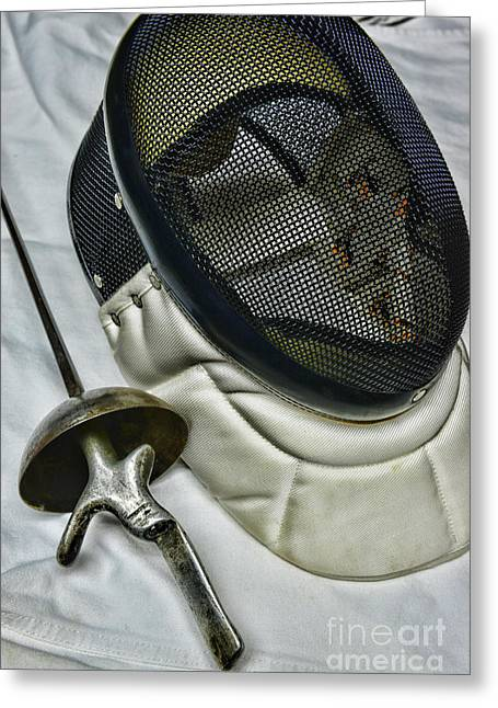On Guard Greeting Cards - Fencing Mask and Foil Greeting Card by Paul Ward