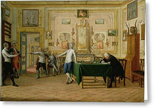 Sparring Greeting Cards - Fencing Scene At The Neopolitan Residence Of Kenneth Mackenzie 1744-81 1st Earl Of Seaforth, 1771 Greeting Card by Pietro Fabris