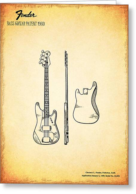 Rock N Roll Greeting Cards - Fender Bass Guitar Patent 1960 Greeting Card by Mark Rogan