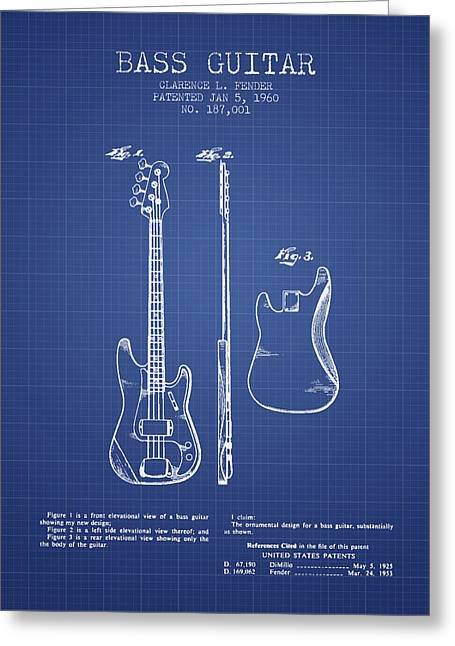 Fender Bass Guitar Patent From 1960 - Blueprint Greeting Card by Aged Pixel