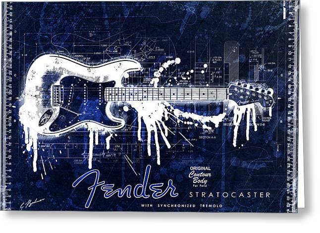 Fender Strat Greeting Cards - Fender Blueprint Washout Greeting Card by Gary Bodnar