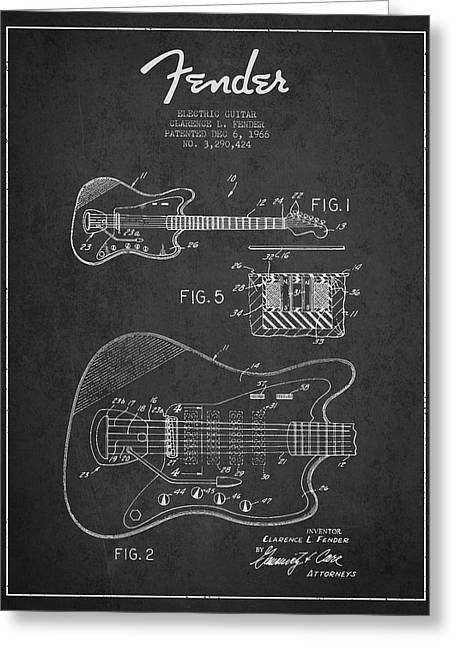 String Instrument Greeting Cards - Fender Electric guitar patent Drawing from 1966 Greeting Card by Aged Pixel