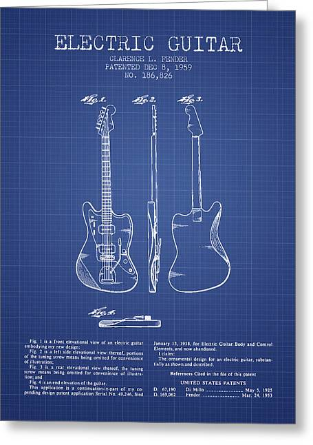 Recently Sold -  - Technical Greeting Cards - Fender Electric Guitar Patent from 1959 - Blueprint Greeting Card by Aged Pixel