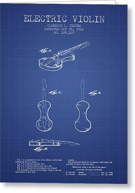 Violin Digital Greeting Cards - Fender Electric Violin Patent From 1960 - Blueprint Greeting Card by Aged Pixel