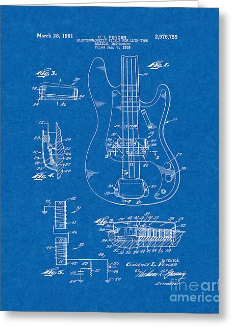 Lute Digital Greeting Cards - Fender Electromagnetic Pickup For Lute-type Musical Instrument Patent - Blueprint Greeting Card by BJ Simpson