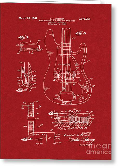 Lute Digital Greeting Cards - Fender Electromagnetic Pickup For Lute-type Musical Instrument Patent - Burgundy Red Greeting Card by BJ Simpson