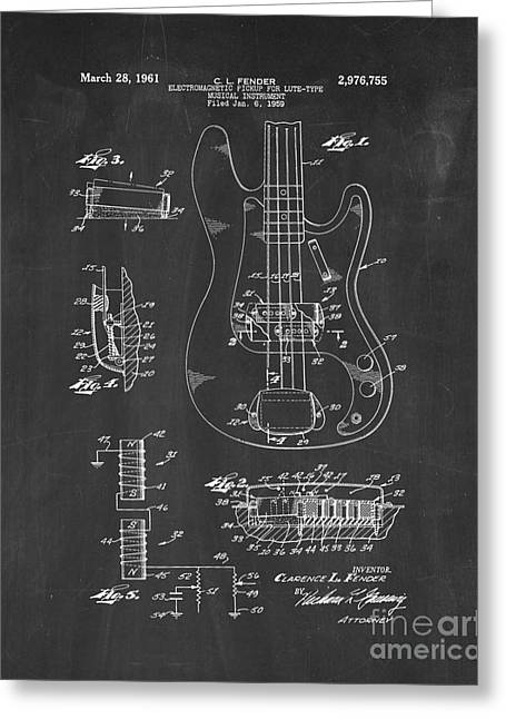 Lute Digital Greeting Cards - Fender Electromagnetic Pickup For Lute-type Musical Instrument Patent - Chalkboard Greeting Card by BJ Simpson