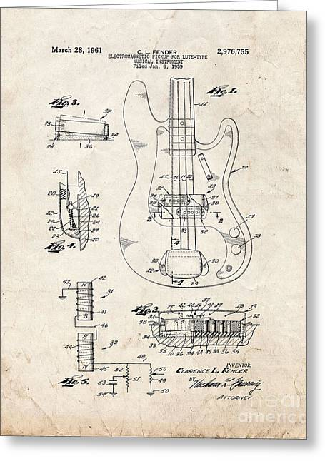 Lute Digital Greeting Cards - Fender Electromagnetic Pickup For Lute-type Musical Instrument Patent - Old Look Greeting Card by BJ Simpson