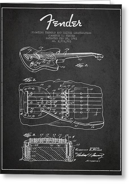 Tremolo Greeting Cards - Fender Floating Tremolo patent Drawing from 1961 - Dark Greeting Card by Aged Pixel