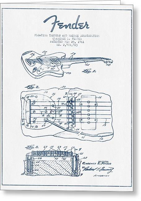 Tremolo Greeting Cards - Fender Floating Tremolo patent Drawing from 1961 - Blue Ink Greeting Card by Aged Pixel