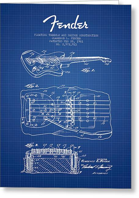 Tremolo Greeting Cards - Fender Floating Tremolo patent Drawing from 1961 - Blueprint Greeting Card by Aged Pixel