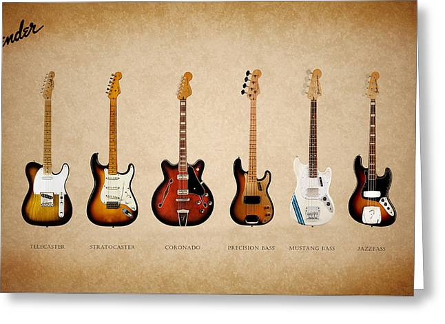 Rock And Roll Music Greeting Cards - Fender Guitar Collection Greeting Card by Mark Rogan