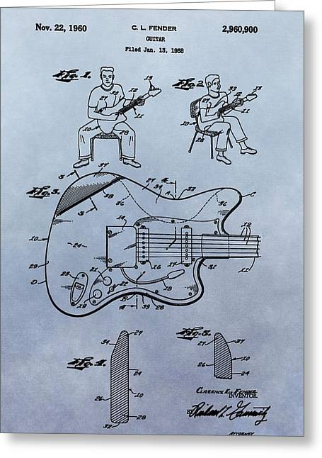 Fender Strat Greeting Cards - Fender Guitar Patent Greeting Card by Dan Sproul
