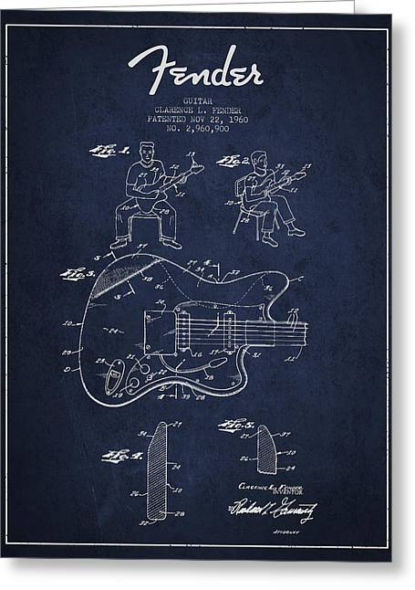 Bass Digital Art Greeting Cards - Fender guitar patent Drawing from 1960 Greeting Card by Aged Pixel