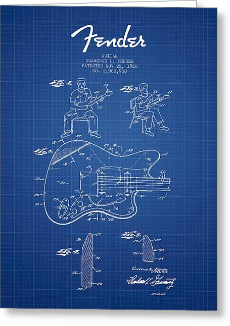 Tremolo Greeting Cards - Fender guitar patent Drawing from 1960 - Blueprint Greeting Card by Aged Pixel