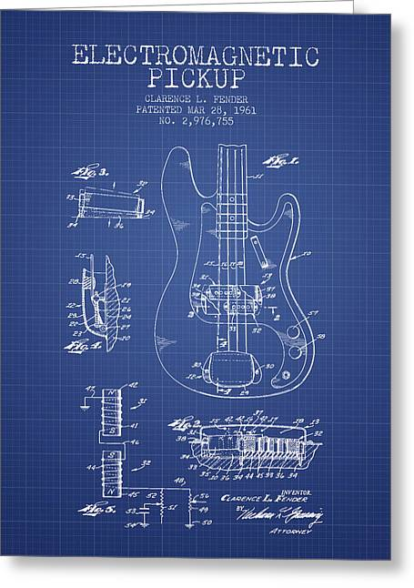 Technical Greeting Cards - Fender Guitar Patent from 1961 - Blueprint Greeting Card by Aged Pixel