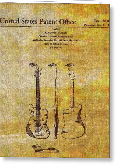 Live Music Greeting Cards - Fender Guitar Patent On Canvas Greeting Card by Dan Sproul