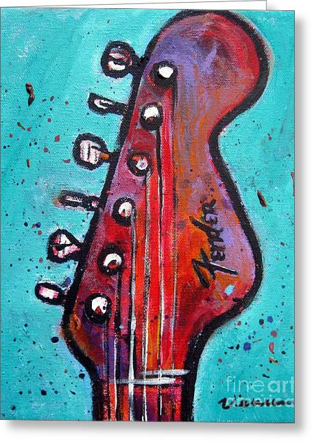 Playing Musical Instruments Mixed Media Greeting Cards - Fender Guitar Greeting Card by Venus