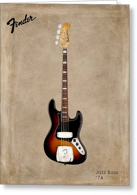 Rock N Roll Photographs Greeting Cards - Fender Jazzbass 74 Greeting Card by Mark Rogan